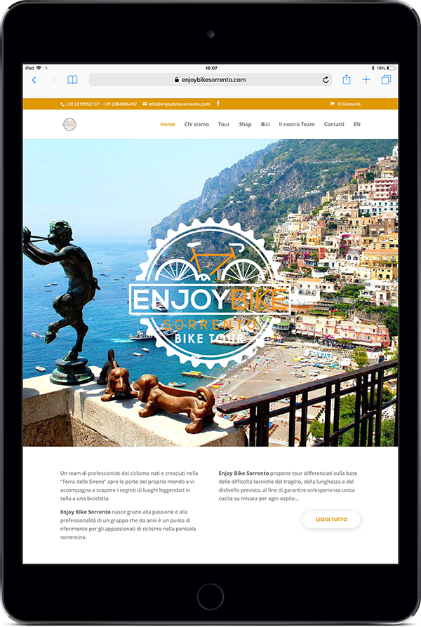 Enjoy Bike Sorrento - Sito web responsivo - Vista da cellulare