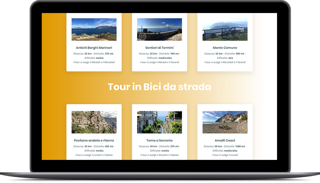 Enjoy Bike Sorrento - Sito web responsivo - Vista da tablet